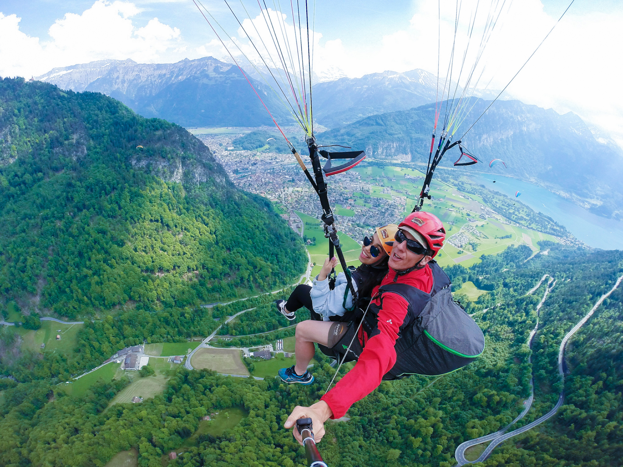 Qanetha Ahmed taking a break from studying for MCAT exams to go paragliding in the Swiss Alps